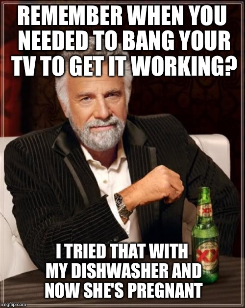 Be safe my friend  | REMEMBER WHEN YOU NEEDED TO BANG YOUR TV TO GET IT WORKING? I TRIED THAT WITH MY DISHWASHER AND NOW SHE'S PREGNANT | image tagged in memes,the most interesting man in the world,funny | made w/ Imgflip meme maker