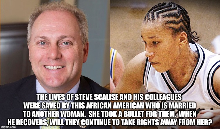 Crystal Grindr, hero | THE LIVES OF STEVE SCALISE AND HIS COLLEAGUES WERE SAVED BY THIS AFRICAN AMERICAN WHO IS MARRIED TO ANOTHER WOMAN.  SHE TOOK A BULLET FOR TH | image tagged in hypocrisy | made w/ Imgflip meme maker