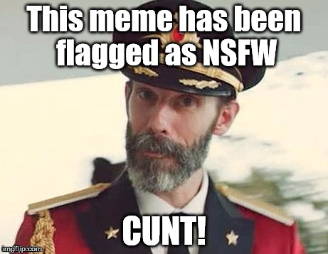 Captain Obvious: a captain who says the obvious. | This meme has been flagged as NSFW C**T! | image tagged in captain obvious,memes,nsfw,cunt | made w/ Imgflip meme maker