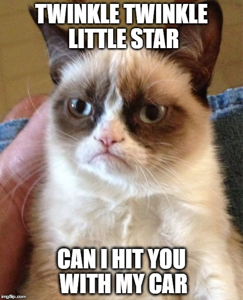 Grumpy Cat Meme | TWINKLE TWINKLE LITTLE STAR CAN I HIT YOU WITH MY CAR | image tagged in memes,grumpy cat | made w/ Imgflip meme maker