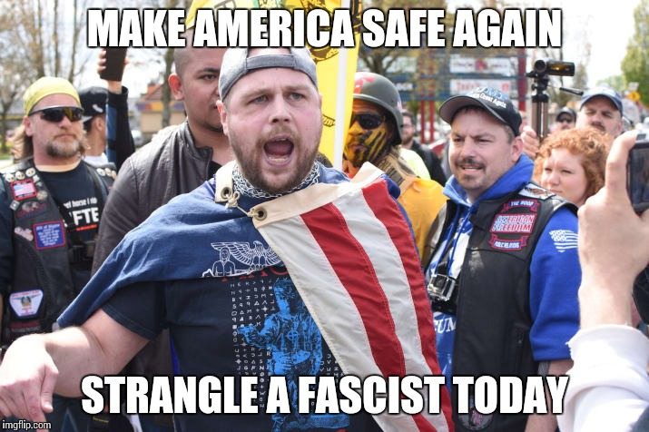 MAKE AMERICA SAFE AGAIN STRANGLE A FASCIST TODAY | image tagged in strangle fascist | made w/ Imgflip meme maker