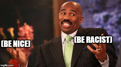 Steve Harvey Meme | (BE NICE) (BE RACIST) | image tagged in memes,steve harvey | made w/ Imgflip meme maker
