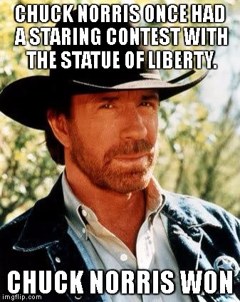 Chuck Norris Meme | CHUCK NORRIS ONCE HAD A STARING CONTEST WITH THE STATUE OF LIBERTY. CHUCK NORRIS WON | image tagged in memes,chuck norris | made w/ Imgflip meme maker