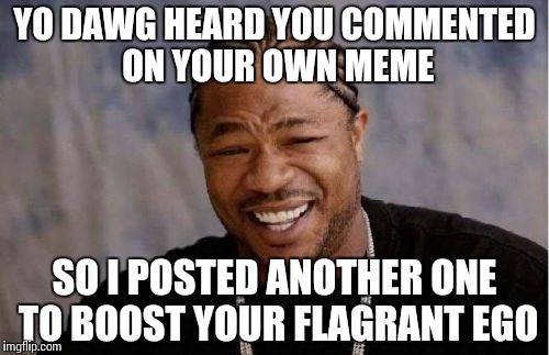 Yo Dawg Heard You Meme | YO DAWG HEARD YOU COMMENTED ON YOUR OWN MEME SO I POSTED ANOTHER ONE TO BOOST YOUR FLAGRANT EGO | image tagged in memes,yo dawg heard you | made w/ Imgflip meme maker
