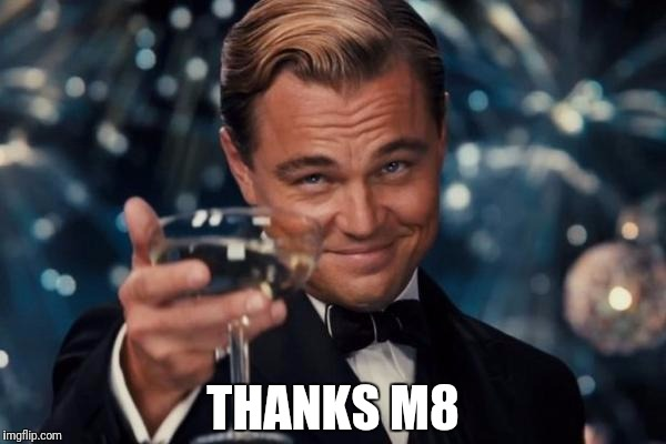 Leonardo Dicaprio Cheers Meme | THANKS M8 | image tagged in memes,leonardo dicaprio cheers | made w/ Imgflip meme maker