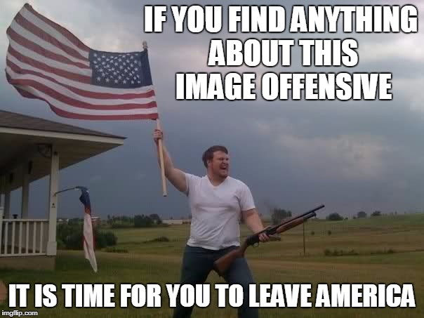 Redneck Shotgun and Flag | IF YOU FIND ANYTHING ABOUT THIS IMAGE OFFENSIVE IT IS TIME FOR YOU TO LEAVE AMERICA | image tagged in redneck shotgun and flag | made w/ Imgflip meme maker