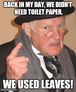 Back In My Day Meme | BACK IN MY DAY, WE DIDN'T NEED TOILET PAPER, WE USED LEAVES! | image tagged in memes,back in my day | made w/ Imgflip meme maker