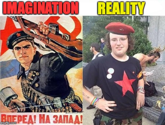Dream On Comrades | IMAGINATION REALITY | image tagged in sjw,revolution,deception | made w/ Imgflip meme maker