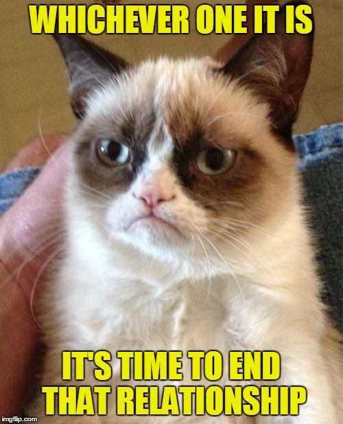 Grumpy Cat Meme | WHICHEVER ONE IT IS IT'S TIME TO END THAT RELATIONSHIP | image tagged in memes,grumpy cat | made w/ Imgflip meme maker