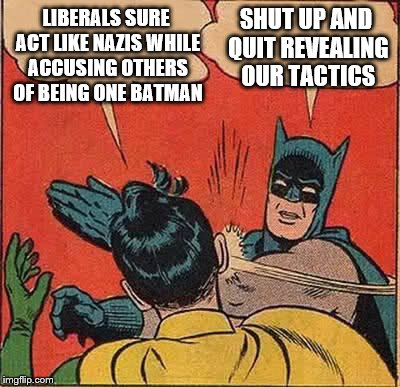 Batman Slapping Robin Meme | LIBERALS SURE ACT LIKE NAZIS WHILE ACCUSING OTHERS OF BEING ONE BATMAN SHUT UP AND QUIT REVEALING OUR TACTICS | image tagged in memes,batman slapping robin | made w/ Imgflip meme maker