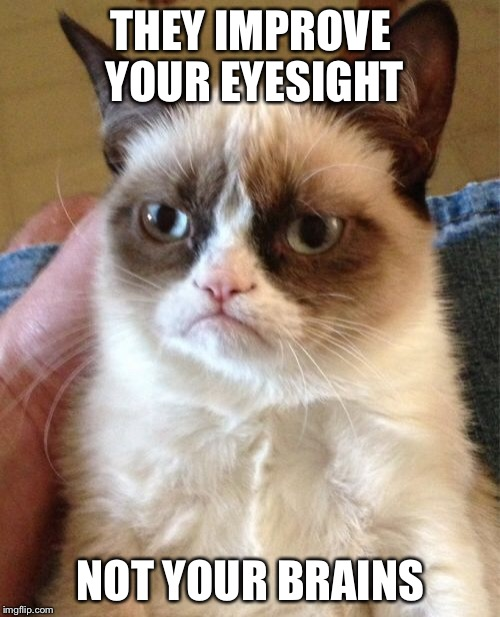 Grumpy Cat Meme | THEY IMPROVE YOUR EYESIGHT NOT YOUR BRAINS | image tagged in memes,grumpy cat | made w/ Imgflip meme maker