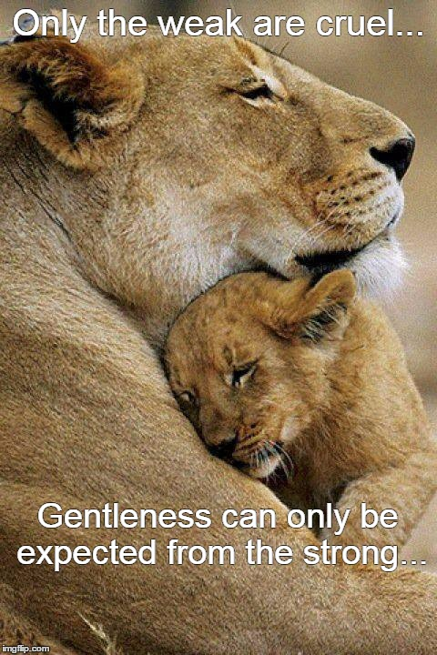 Only the weak are cruel... Gentleness can only be expected from the strong... | image tagged in strong,love,cruel | made w/ Imgflip meme maker