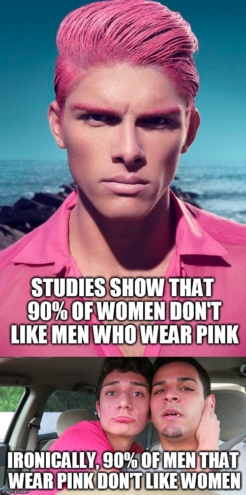 LGBT | STUDIES SHOW THAT 90% OF WOMEN DON'T LIKE MEN WHO WEAR PINK IRONICALLY, 90% OF MEN THAT WEAR PINK DON'T LIKE WOMEN | image tagged in lgbt,men,gay pride,gay rights,gay,pink | made w/ Imgflip meme maker