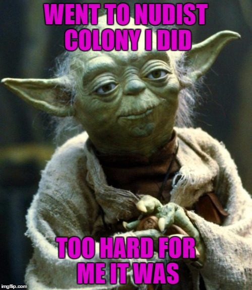 Star Wars Yoda Meme | WENT TO NUDIST COLONY I DID TOO HARD FOR ME IT WAS | image tagged in memes,star wars yoda | made w/ Imgflip meme maker