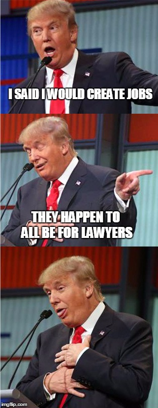 Bad Pun Trump | I SAID I WOULD CREATE JOBS THEY HAPPEN TO ALL BE FOR LAWYERS | image tagged in bad pun trump | made w/ Imgflip meme maker