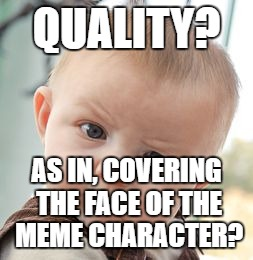 Skeptical Baby Meme | QUALITY? AS IN, COVERING THE FACE OF THE MEME CHARACTER? | image tagged in memes,skeptical baby | made w/ Imgflip meme maker