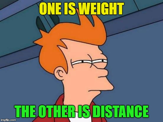 Futurama Fry Meme | ONE IS WEIGHT THE OTHER IS DISTANCE | image tagged in memes,futurama fry | made w/ Imgflip meme maker
