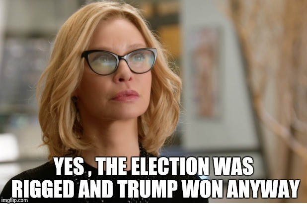 Callista Flockhart | YES , THE ELECTION WAS RIGGED AND TRUMP WON ANYWAY | image tagged in callista flockhart | made w/ Imgflip meme maker