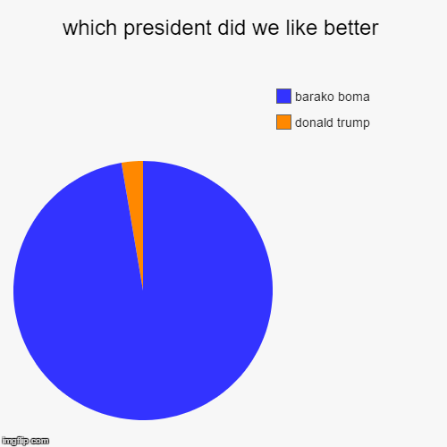 which president did we like better | donald trump, barako boma | image tagged in funny,pie charts | made w/ Imgflip pie chart maker