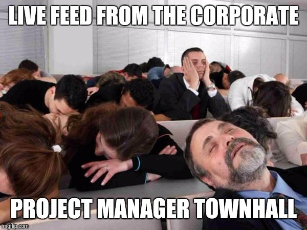 Project management summit or town hall | LIVE FEED FROM THE CORPORATE PROJECT MANAGER TOWNHALL | image tagged in boring,project manager | made w/ Imgflip meme maker