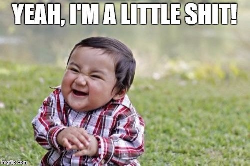 Evil Toddler Meme | YEAH, I'M A LITTLE SHIT! | image tagged in memes,evil toddler | made w/ Imgflip meme maker