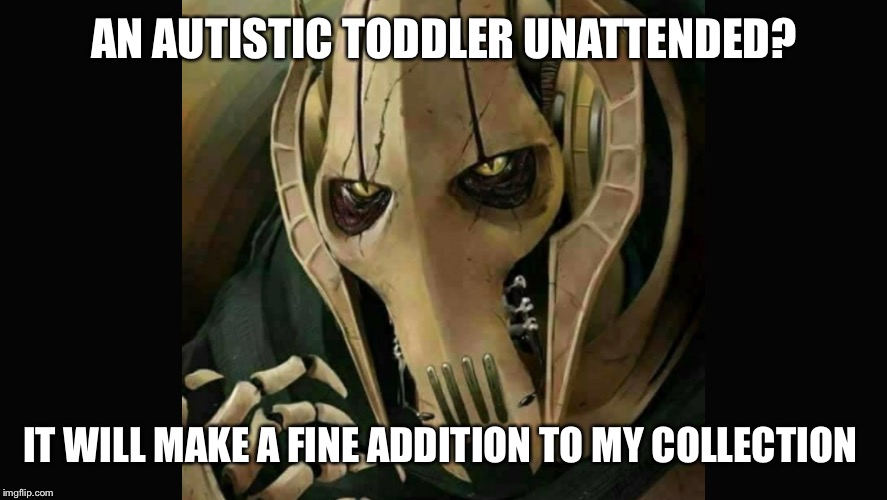 A pedophile from far, far away | AN AUTISTIC TODDLER UNATTENDED? IT WILL MAKE A FINE ADDITION TO MY COLLECTION | image tagged in memes | made w/ Imgflip meme maker