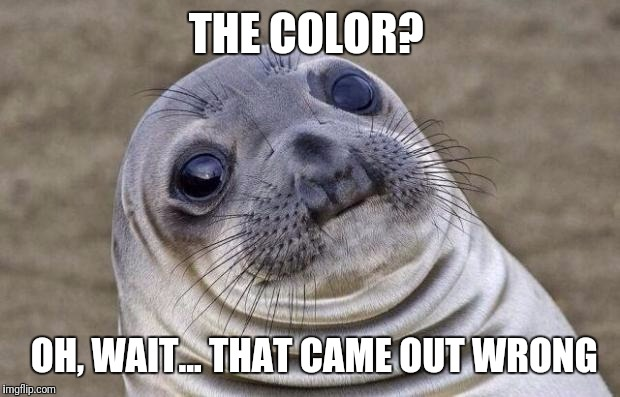Awkward Moment Sealion Meme | THE COLOR? OH, WAIT... THAT CAME OUT WRONG | image tagged in memes,awkward moment sealion | made w/ Imgflip meme maker