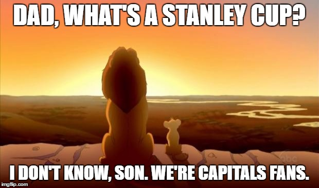 MUFASA AND SIMBA | DAD, WHAT'S A STANLEY CUP? I DON'T KNOW, SON. WE'RE CAPITALS FANS. | image tagged in mufasa and simba | made w/ Imgflip meme maker