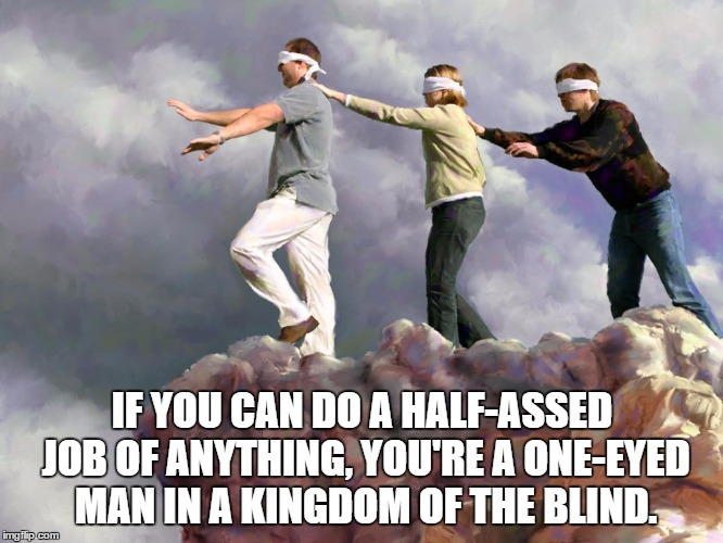 Blind fools | IF YOU CAN DO A HALF-ASSED JOB OF ANYTHING, YOU'RE A ONE-EYED MAN IN A KINGDOM OF THE BLIND. | image tagged in blind fools | made w/ Imgflip meme maker