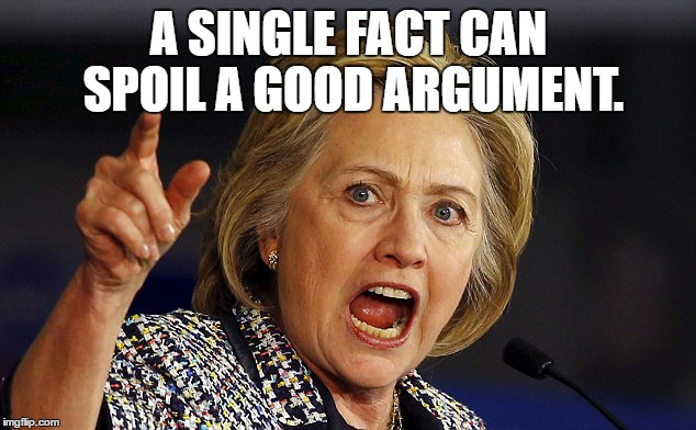 A SINGLE FACT CAN SPOIL A GOOD ARGUMENT. | image tagged in hhillary on facts | made w/ Imgflip meme maker