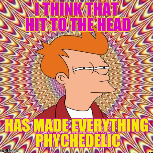Fried Fry | I THINK THAT HIT TO THE HEAD HAS MADE EVERYTHING PHYCHEDELIC | image tagged in fried fry | made w/ Imgflip meme maker
