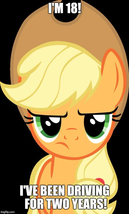 Applejack is not amused | I'M 18! I'VE BEEN DRIVING FOR TWO YEARS! | image tagged in applejack is not amused | made w/ Imgflip meme maker
