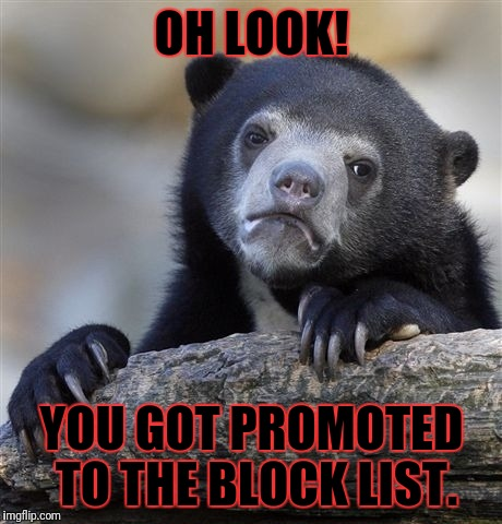 Confession Bear Meme | OH LOOK! YOU GOT PROMOTED TO THE BLOCK LIST. | image tagged in memes,confession bear | made w/ Imgflip meme maker