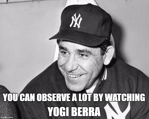 YOU CAN OBSERVE A LOT BY WATCHING YOGI BERRA | image tagged in yogi berra | made w/ Imgflip meme maker