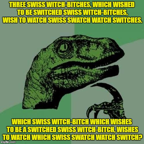 Philosoraptor Meme | THREE SWISS WITCH-B**CHES, WHICH WISHED TO BE SWITCHED SWISSWITCH-B**CHES, WISH TO WATCH SWISS SWATCH WATCH SWITCHES. WHICH SWISS WITCH-B** | image tagged in memes,philosoraptor | made w/ Imgflip meme maker
