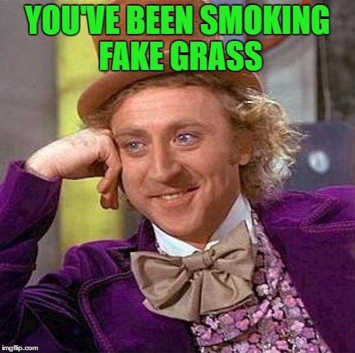 Creepy Condescending Wonka Meme | YOU'VE BEEN SMOKING FAKE GRASS | image tagged in memes,creepy condescending wonka | made w/ Imgflip meme maker