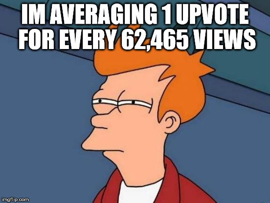Fry Mirrored | IM AVERAGING 1 UPVOTE FOR EVERY 62,465 VIEWS | image tagged in fry mirrored | made w/ Imgflip meme maker