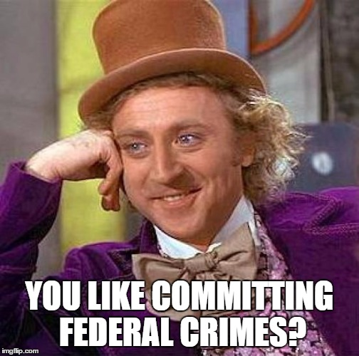 Creepy Condescending Wonka Meme | YOU LIKE COMMITTING FEDERAL CRIMES? | image tagged in memes,creepy condescending wonka | made w/ Imgflip meme maker