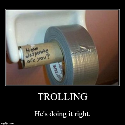 Toilet... TAPE!?!?!? | TROLLING | He's doing it right. | image tagged in funny,demotivationals,duct tape,potty humor | made w/ Imgflip demotivational maker
