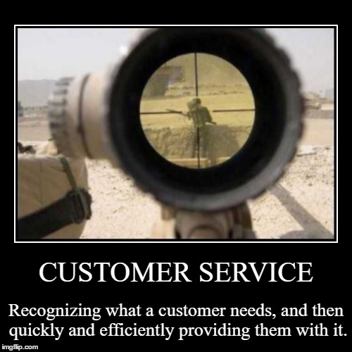 CUSTOMER SERVICE | Recognizing what a customer needs, and then quickly and efficiently providing them with it. | image tagged in funny,demotivationals | made w/ Imgflip demotivational maker