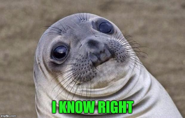 Awkward Moment Sealion Meme | I KNOW RIGHT | image tagged in memes,awkward moment sealion | made w/ Imgflip meme maker
