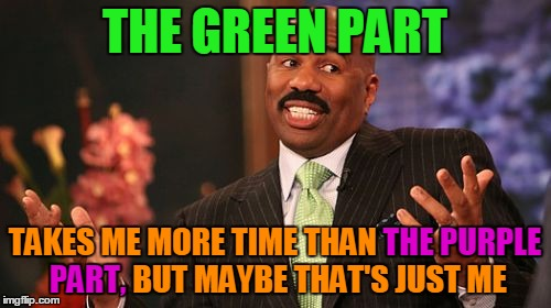 Steve Harvey Meme | THE GREEN PART TAKES ME MORE TIME THAN THE PURPLE PART, BUT MAYBE THAT'S JUST ME PART, THE PURPLE | image tagged in memes,steve harvey | made w/ Imgflip meme maker