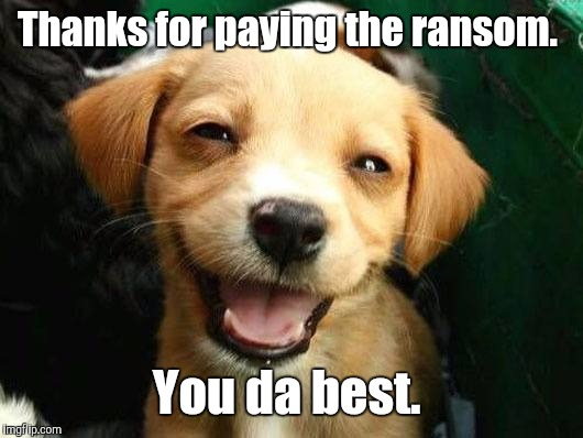 Dog Smiling | Thanks for paying the ransom. You da best. | image tagged in dog smiling | made w/ Imgflip meme maker