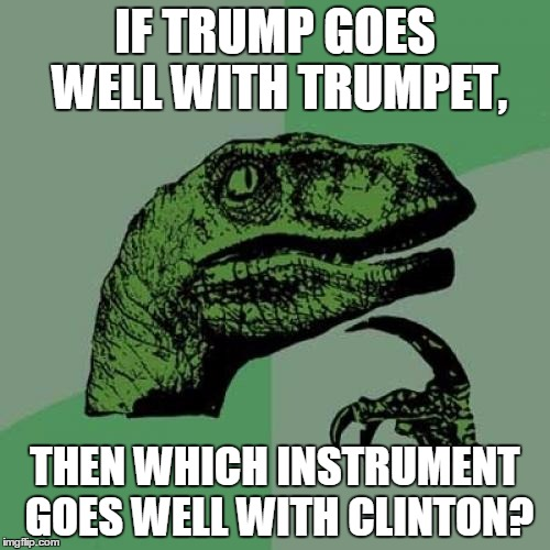 Philosoraptor Meme | IF TRUMP GOES WELL WITH TRUMPET, THEN WHICH INSTRUMENT GOES WELL WITH CLINTON? | image tagged in memes,philosoraptor | made w/ Imgflip meme maker