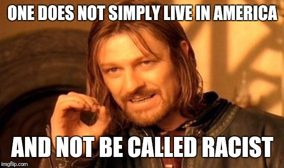 One Does Not Simply Meme | ONE DOES NOT SIMPLY LIVE IN AMERICA AND NOT BE CALLED RACIST | image tagged in memes,one does not simply | made w/ Imgflip meme maker