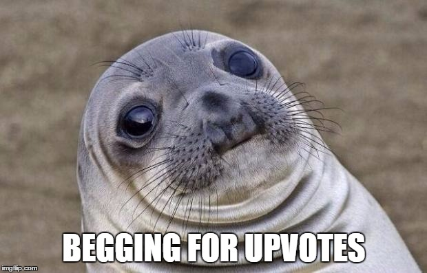 Awkward Moment Sealion Meme | BEGGING FOR UPVOTES | image tagged in memes,awkward moment sealion | made w/ Imgflip meme maker
