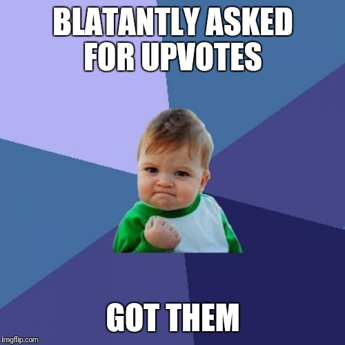Success Kid Meme | BLATANTLY ASKED FOR UPVOTES GOT THEM | image tagged in memes,success kid | made w/ Imgflip meme maker