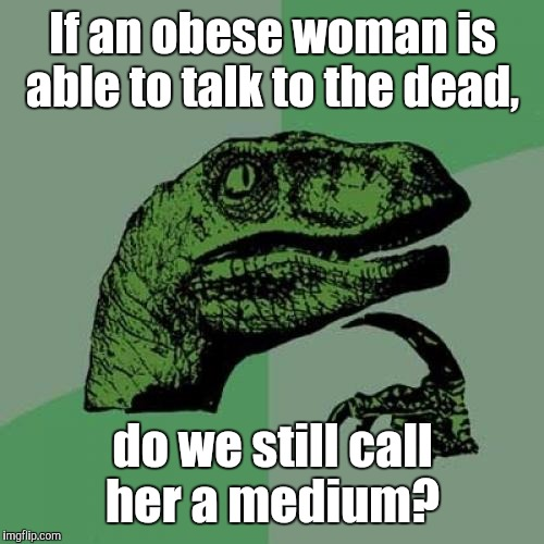 Philosoraptor Meme | If an obese woman is able to talk to the dead, do we still call her a medium? | image tagged in memes,philosoraptor | made w/ Imgflip meme maker