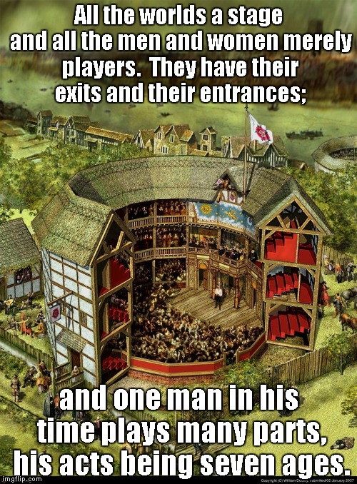 All the world is a play house. | All the worlds a stage and all the men and women merely players.  They have their exits and their entrances; and one man in his time plays m | image tagged in shakespeare | made w/ Imgflip meme maker