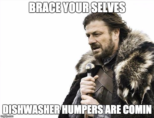 Derpty derp | BRACE YOUR SELVES DISHWASHER HUMPERS ARE COMIN | image tagged in memes,brace yourselves x is coming,derp,lololol | made w/ Imgflip meme maker